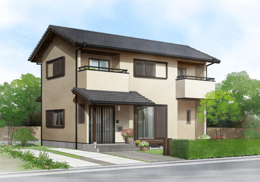 木格子戸がモダンな印象の邸宅